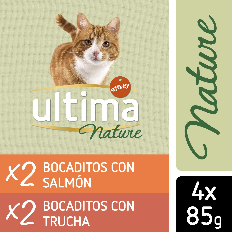 Ultima Nature Comida Húmeda para Gatos con Salmón y Trucha, 13 Multipacks de 4 x 85 g, Total: 4.4 kg