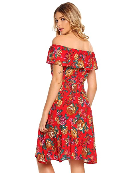 Image Unavailable. Image not available for. Color  etuoji Womens Summer  Casual Off Shoulder Ruffled A Line Swing Floral Skater Dress 5052579ed