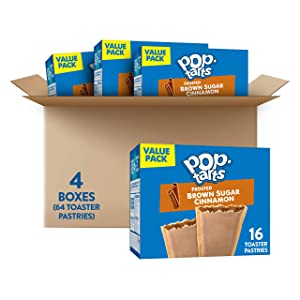 Pop-Tarts, Breakfast Toaster Pastries, Frosted Brown Sugar Cinnamon, Fun Snacks for Kids (64 Toaster Pastries)