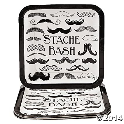 Fun Express Mustache Stache Bash Party Paper Dinner Plates - 9.25 inches - 8 Piece Pack  sc 1 st  Amazon.com : mustache paper plates - pezcame.com