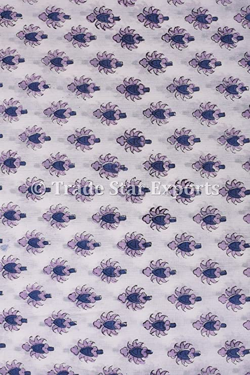 """Ethnic Cotton White Floral Printed Fabric White 41"""" Width Crafting By The Metre"""