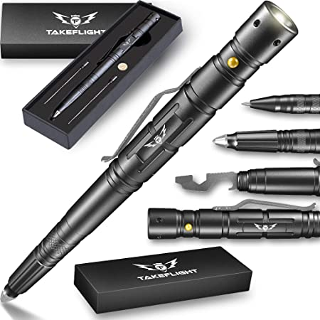 Tactical Pen for Self-Defense + LED Tactical Flashlight, Bottle Opener, Window Breaker