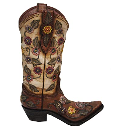 4a92fa87394 MISC Realistic Cowboy Boot Flower Vase Decoration Floral Accents, Womens  Brown Cowgirl Boots Country Western Theme Flowers Bouquet Holder, Texas  Ranch ...