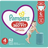 Diapers Size 4, 62 Count - Pampers Pull On Cruisers 360° Fit Disposable Baby Diapers with Stretchy Waistband, Super Pack…