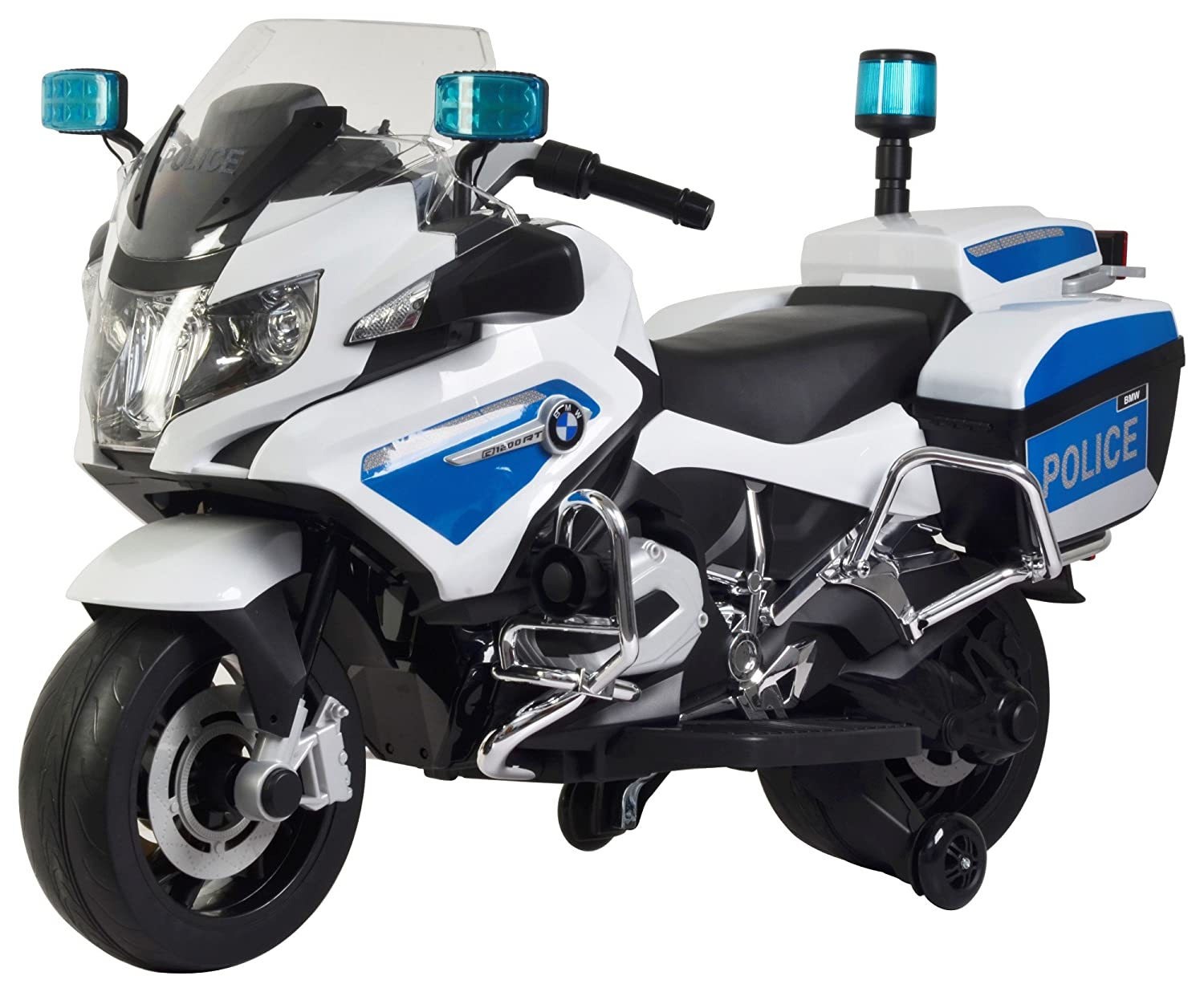 Toy House Officially Licensed Bmw R 1200 Rt Police Motorcycle Rechargeable Battery Operated Ride On Bike For Kids 2 To 7 White
