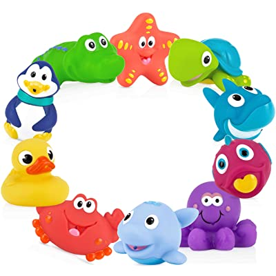 Nuby 10 Count (Pack of 1) Little Squirts Fun Bath Toys, Assorted Characters : Baby