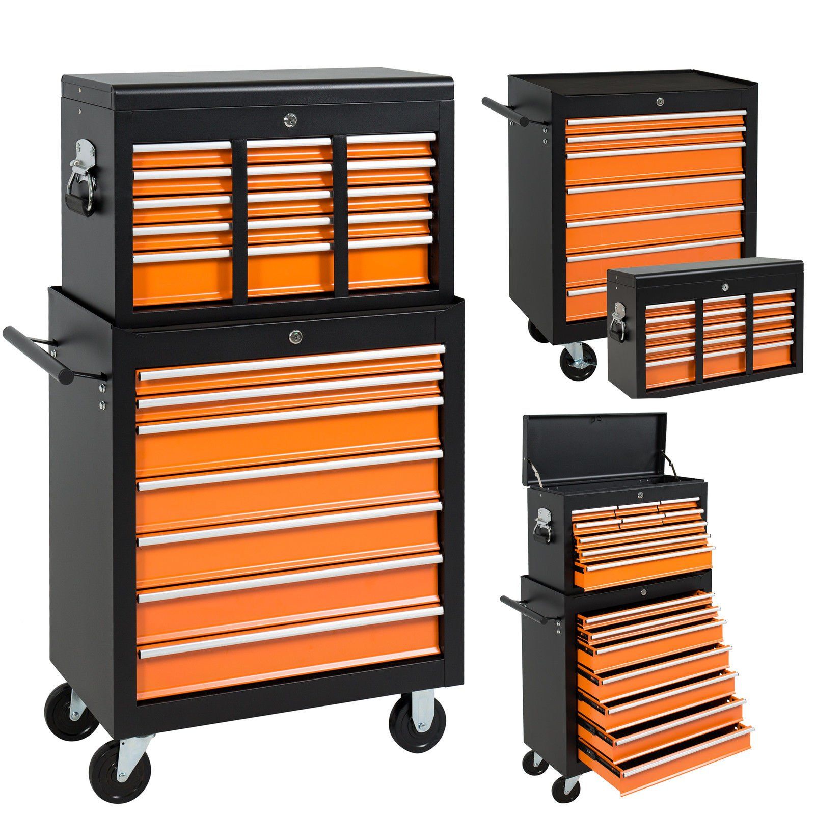 16 Drawers Tool Cart Top Chest Box Rolling Toolbox Cabinets