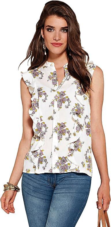 VENCA Camisa Cuello Mao con Botones bajo Tapeta Mujer by Vencastyle - 013888, Estampado Crudo, 3XL: Amazon.es: Ropa y accesorios