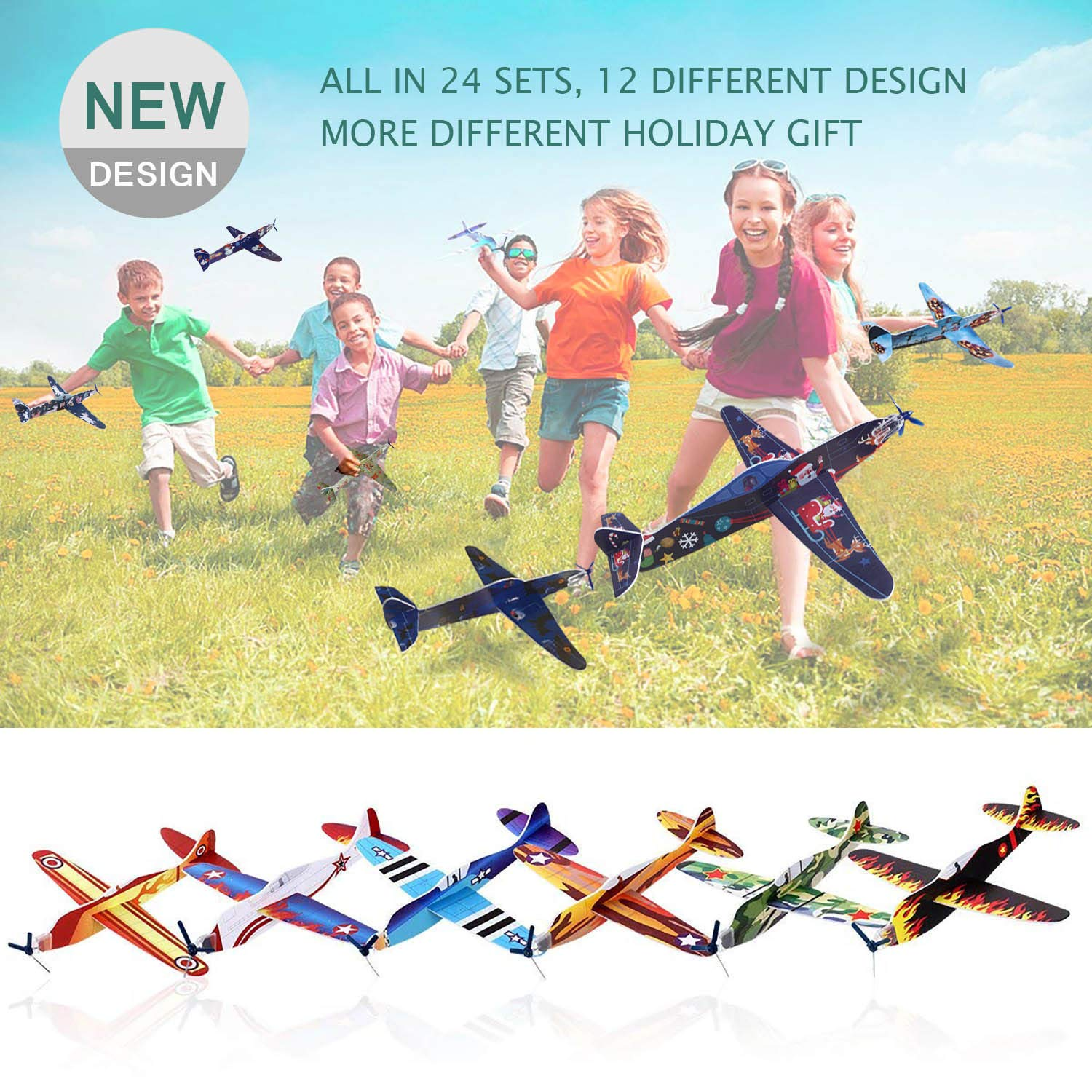Smilkat Glider Plane Party Favors - 12 New Models 24 Pack 8 inch Flying Styrofoam Airplanes, Easy Assembly, Kids Toy for Birthday Party, School Classroom Rewards Carnival Prizes by Smilkat (Image #3)