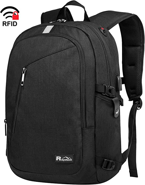 Laptop Backpack, Travel Business Anti Theft Backpack with USB Charging Port, Water Resistant College Bag for Women & Men Fits 15.6 Inch Laptop, Black
