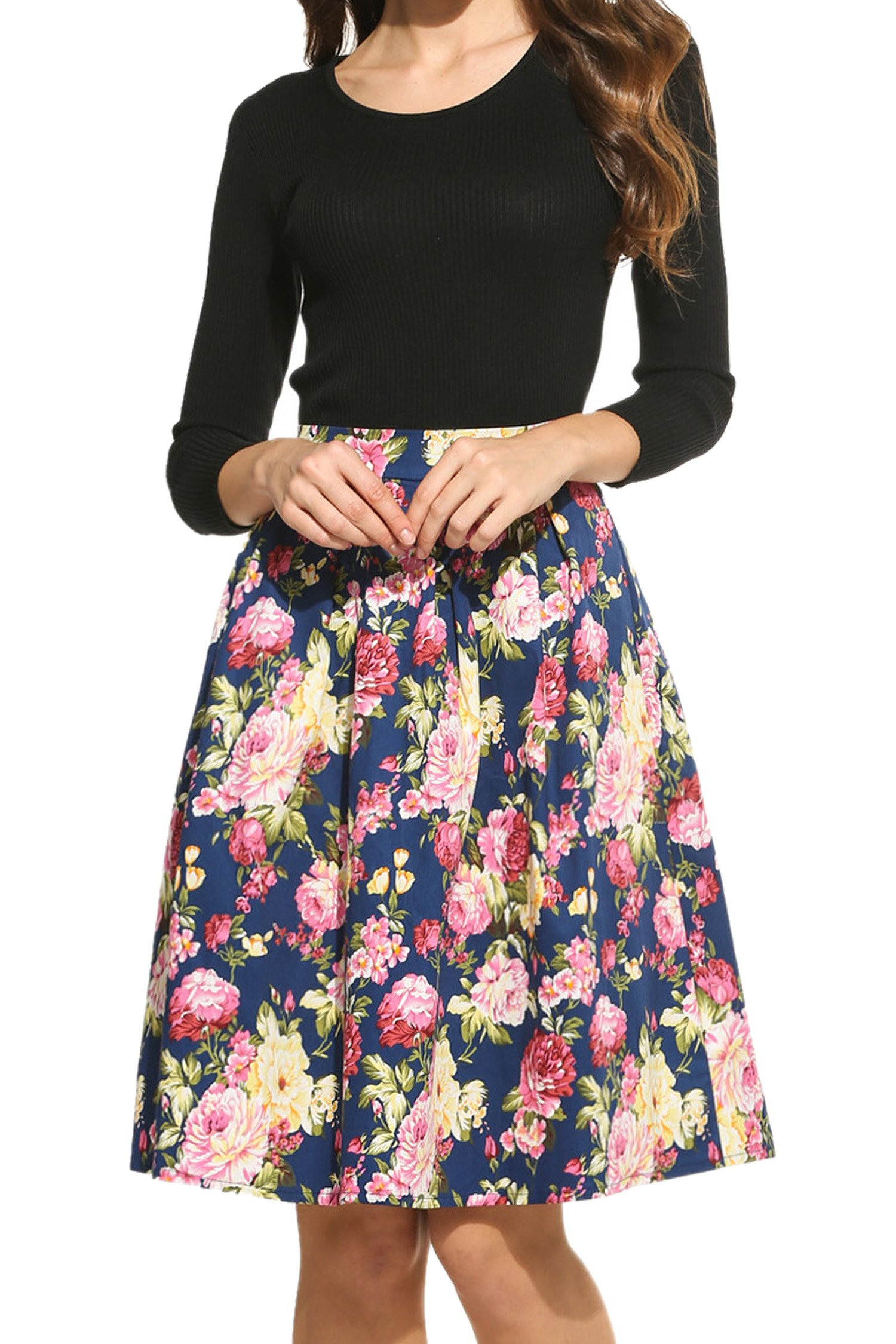 Meaneor Women's High Waisted A line Street Skirt Skater Pleated Full Midi Skirt by Meaneor (Image #4)