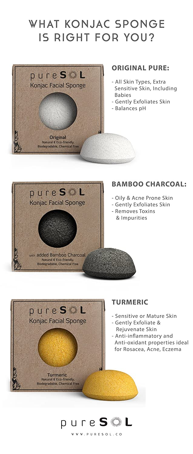 Amazon: Puresol Konjac Facial Sponge  Activated Charcoal: Health &  Personal Care