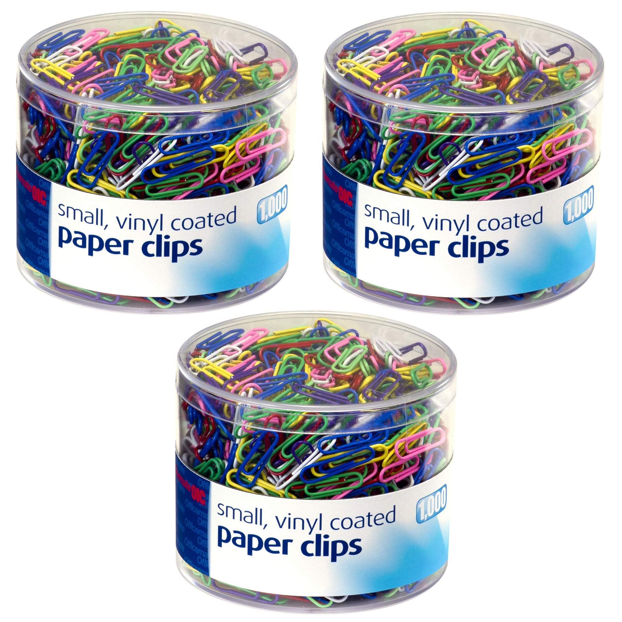 Officemate Vinyl Coated #2 Paper Clips, Assorted Colors, Tub of 1000 (97634), 3 Pack by Officemate
