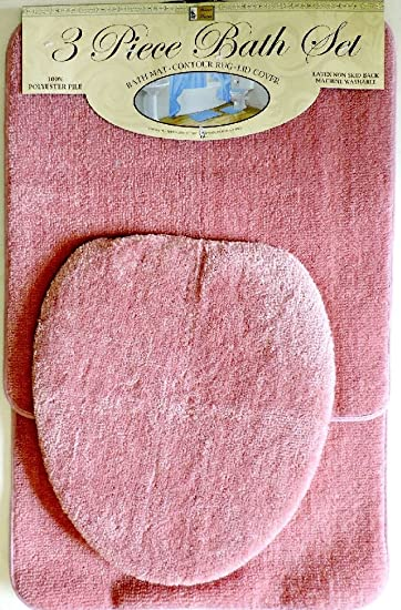 3 Piece Bath Rug Set Pink Bathroom Mat Contour Rug Lid Cover Non Slip Bottom