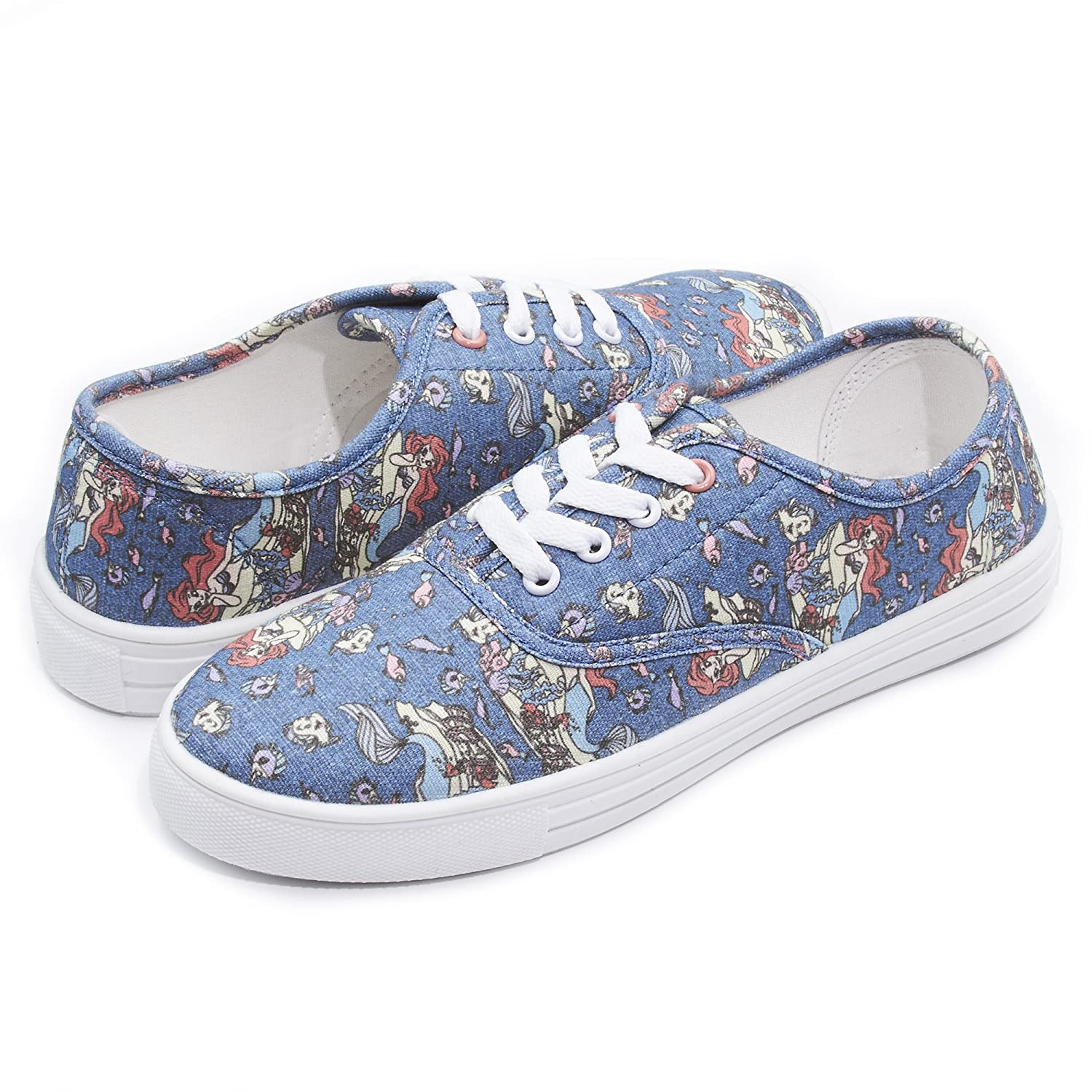 Disney Fairytale Junior Teen Girls Lace up Low Top Canvas Sneakers (See More Designs and Sizes) B074CFYXKQ 6 B(M) US|Blue Multi