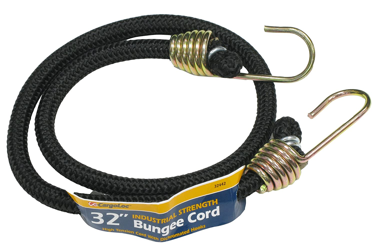 CargoLoc 32444 Industrial Bungee Cords with Dichromate Steel Hooks, 48-Inch, Black