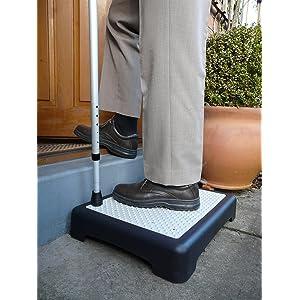 E-Fast Outdoor Half Step Anti Slip Door Step Mobility Disability Elderly Walking Aid Outdoor Step Platform, Half Step for Disabled, Half Step for Elderly