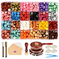 Triwol Wax Seal Stamp Set, 672pcs Wax Seal Beads 24 Colors, Wax Seal Warmer and Spoon with Wax Cushion, Tree of Life…