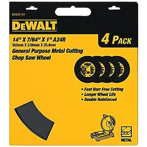 DEWALT DW8001B4 Heavy Duty 14-Inch by 7/64-Inch by 1-Inch General Purpose Chop Saw Wheel (4-Pack)