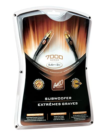 Bello SW7408 High Performance Subwoofer Cable with 24K Gold Plated Connector Ends, Dual Gauge Transmission