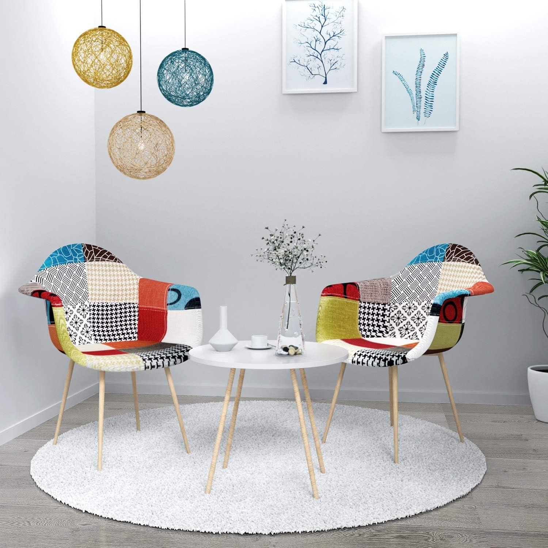 VADIM Patchwork sedie per Sala da Pranzo 2 Pezzi Sedia Moderna da Soggiorno con Schienale in Tessuto di Lino Gambe in Metallo Gambe in Legno Multicolore