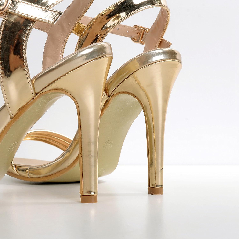 ZHZNVX Die neue high-heel Schuhe für für für Gold feine Tau Schlitz - wie Sandalen Damenschuhe 498def