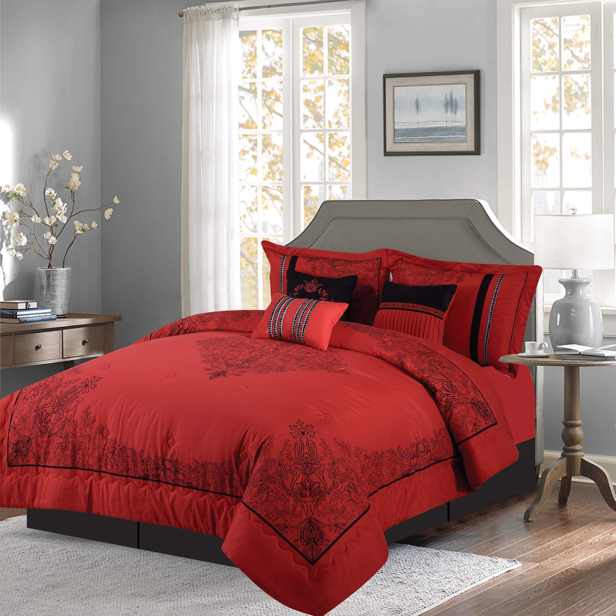 Empire Home 7 Piece Nadia Oversized Elegant Comforter Set - Royalty Design (Red, California King)