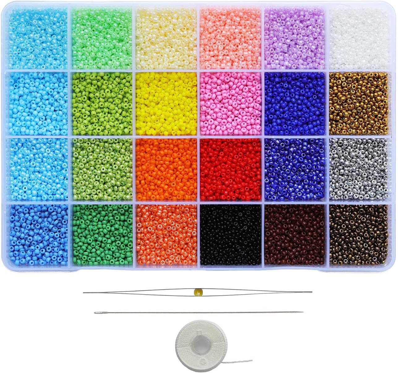 About 650pcs//Color, 24 Colors Bala/&Fillic Size 11//0 Glass Seed Beads About 15600pcs in Box 24 Multicolor Assortment Craft Seed Beads for Jewelry Making