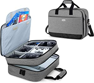 CURMIO Travel Carrying Case Compatible with PS4, PS4 Pro, PS3 Game Console and Accessories, Portable Storage Bag Organizer for Playstation 4 Pro Device, Controller, Headset and Cable, Gray