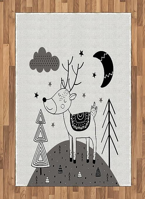 Amazon Com Printawe Doodle Area Rug Deer Clouds Stars Moon
