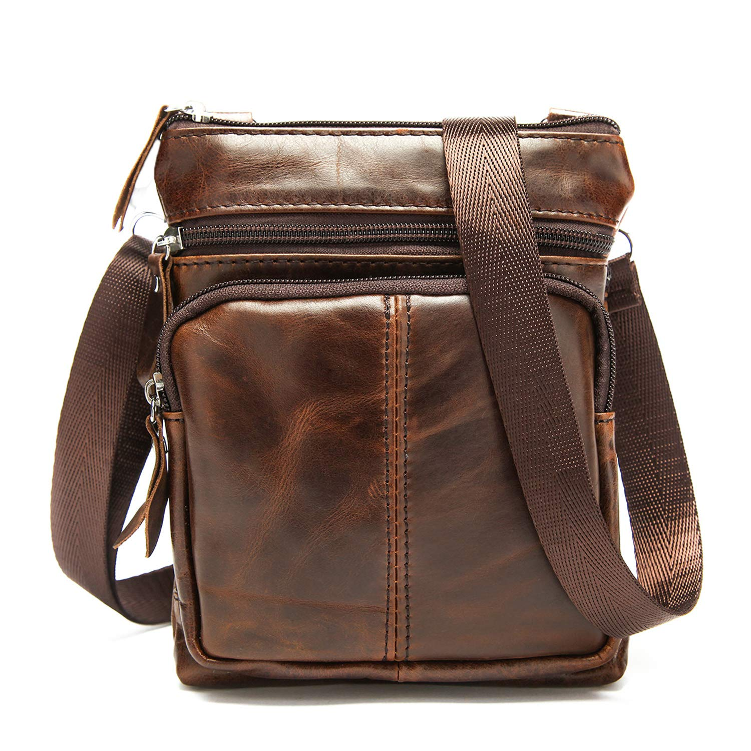 Small Crossbody Bags for Men Leather Mini Messenger Bag Casual Shoulder Purse Sling Bag