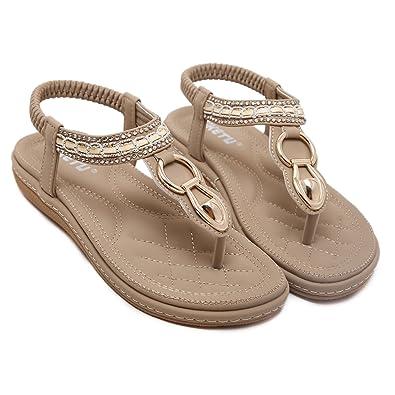 d23c2eff659 Memorygou Women Flat Sandals Bohemian Style T-Strap Thong Shoes Metal  Buckled Crystal Flip Flops