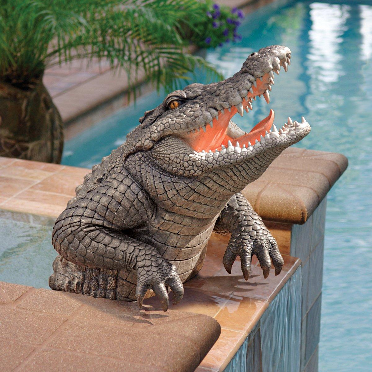 Awesome Amazon.com: Classic Crocodile Alligator Pool Home Garden Statue Sculpture  Figurine: Home U0026 Kitchen