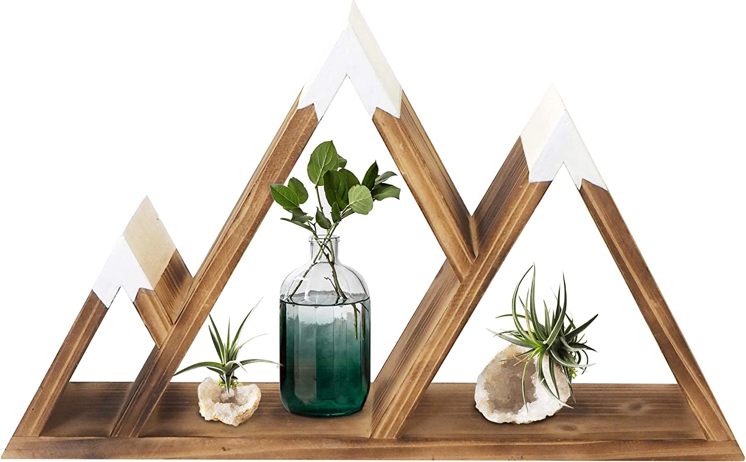 Gibbous Nimbus Wooden Mountain Shelf - Mountain Wall Decor for Nursery Wall Decor - Wooden Crystal Display Shelf - Rustic Wood Triangle Hanging Shelves for Rustic Cabin Decor and Travel Decor