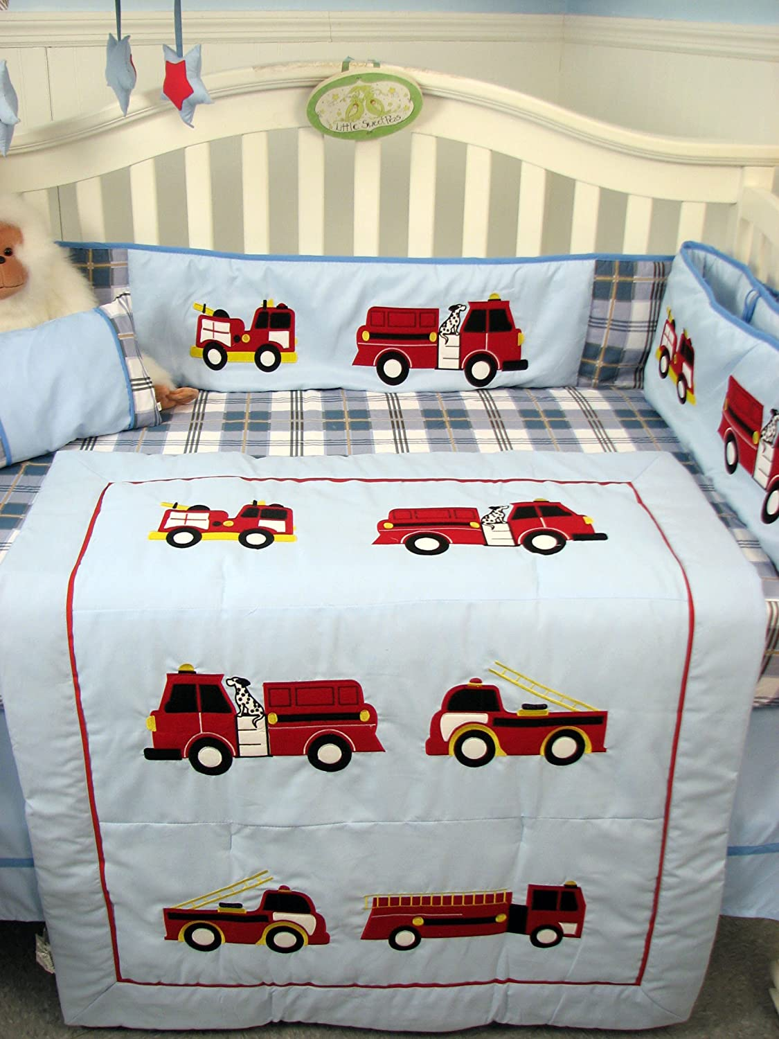 Amazon.com : SoHo Fire Trucks Baby Crib Nursery Bedding Set 13 Pcs Included  Diaper Bag With Changing Pad U0026 Bottle Case : Fire Truck Bedding For A Crib  : ...