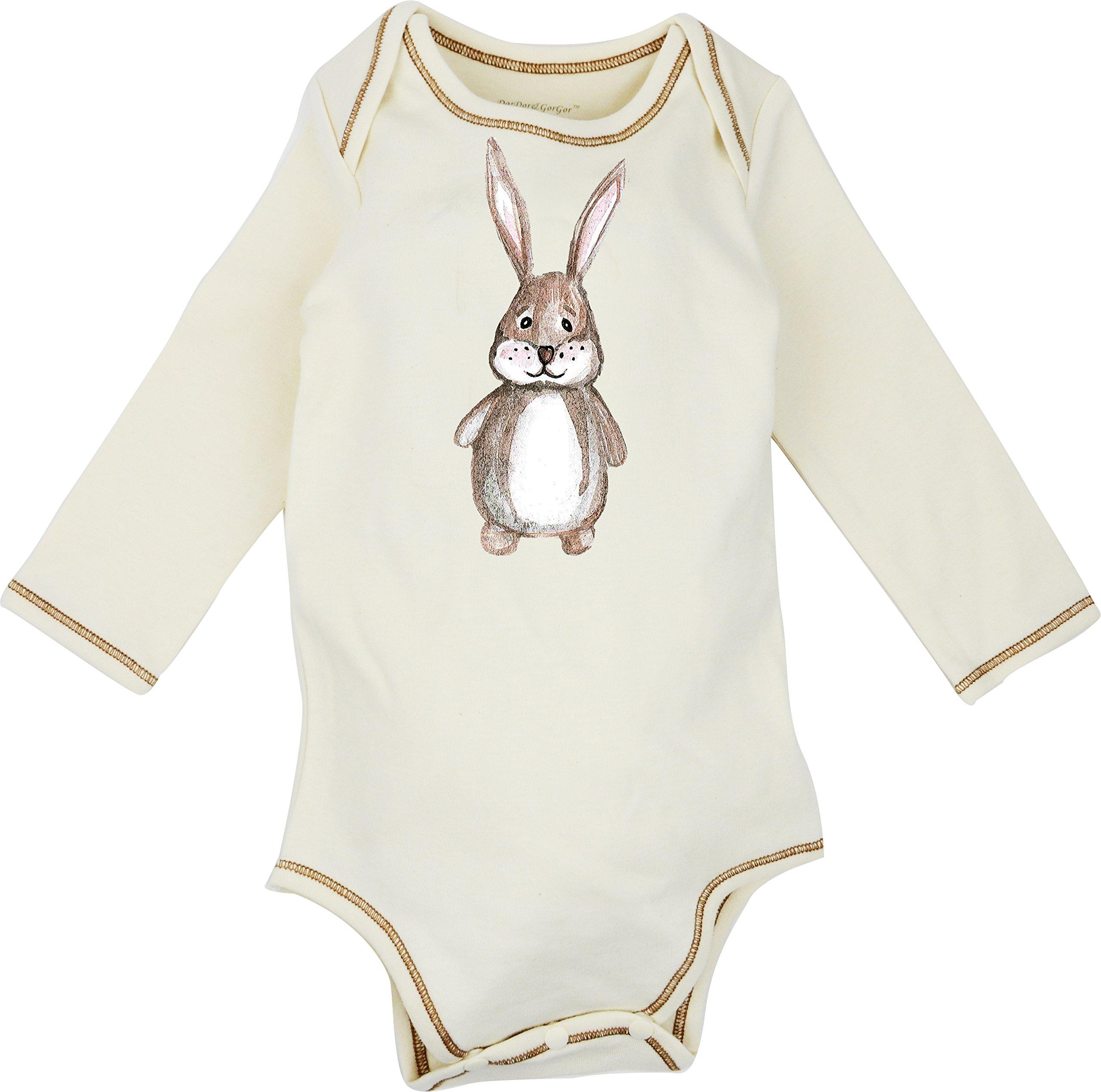 100% Organic Cotton Long Sleeve Unisex Baby Onesie w/Plant Dye Imprints (3M, Bunny)