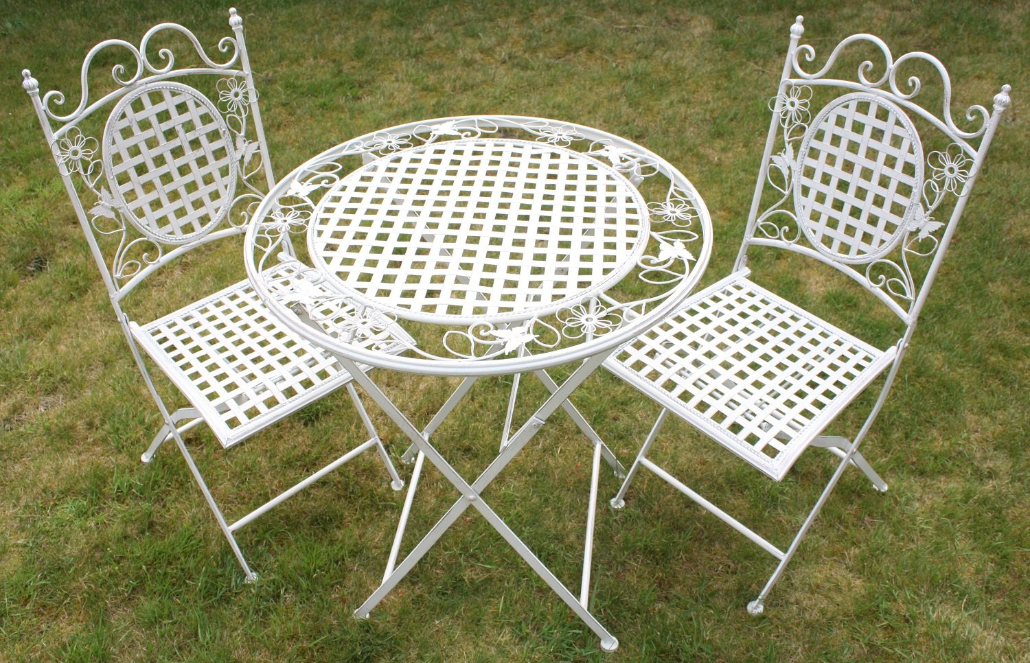 Maribelle White Round Metal Floral Designed Folding Outdoor Garden Patio Dining Table And Two Square Chairs