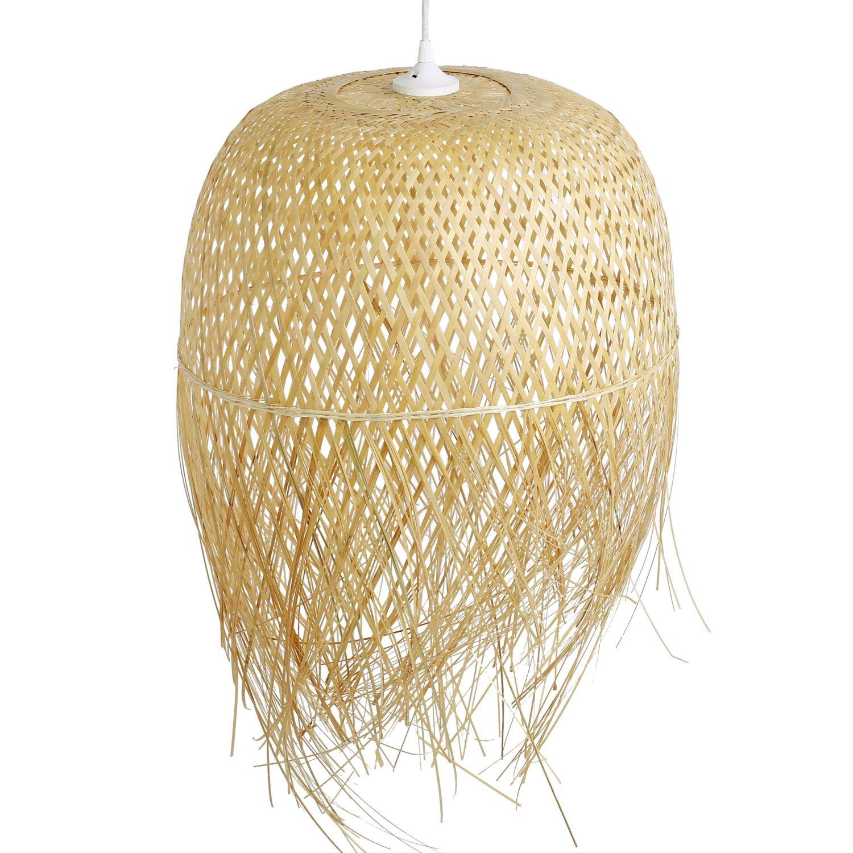 Schlafzimmerlampe Da Nang, Lampe aus Bambus ALS Hängelampe, Pendelleuchte für Wohnzimmer, Schlafzimmer, Kinderzimmer und Küche, asiatische Einrichtung, handgeflochten aus Bambus