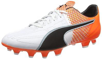 Puma Herren (Fußball) Evospeed 3.5 Lth Fg, Bianco/Nero/Shocking Orange