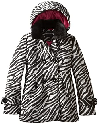 8aa8ec652bfd Rothschild Girls Baby Doll Peacoat Jacket with Faux Fur Collar - Tonal  Zebra (Size 4. Roll over image to ...