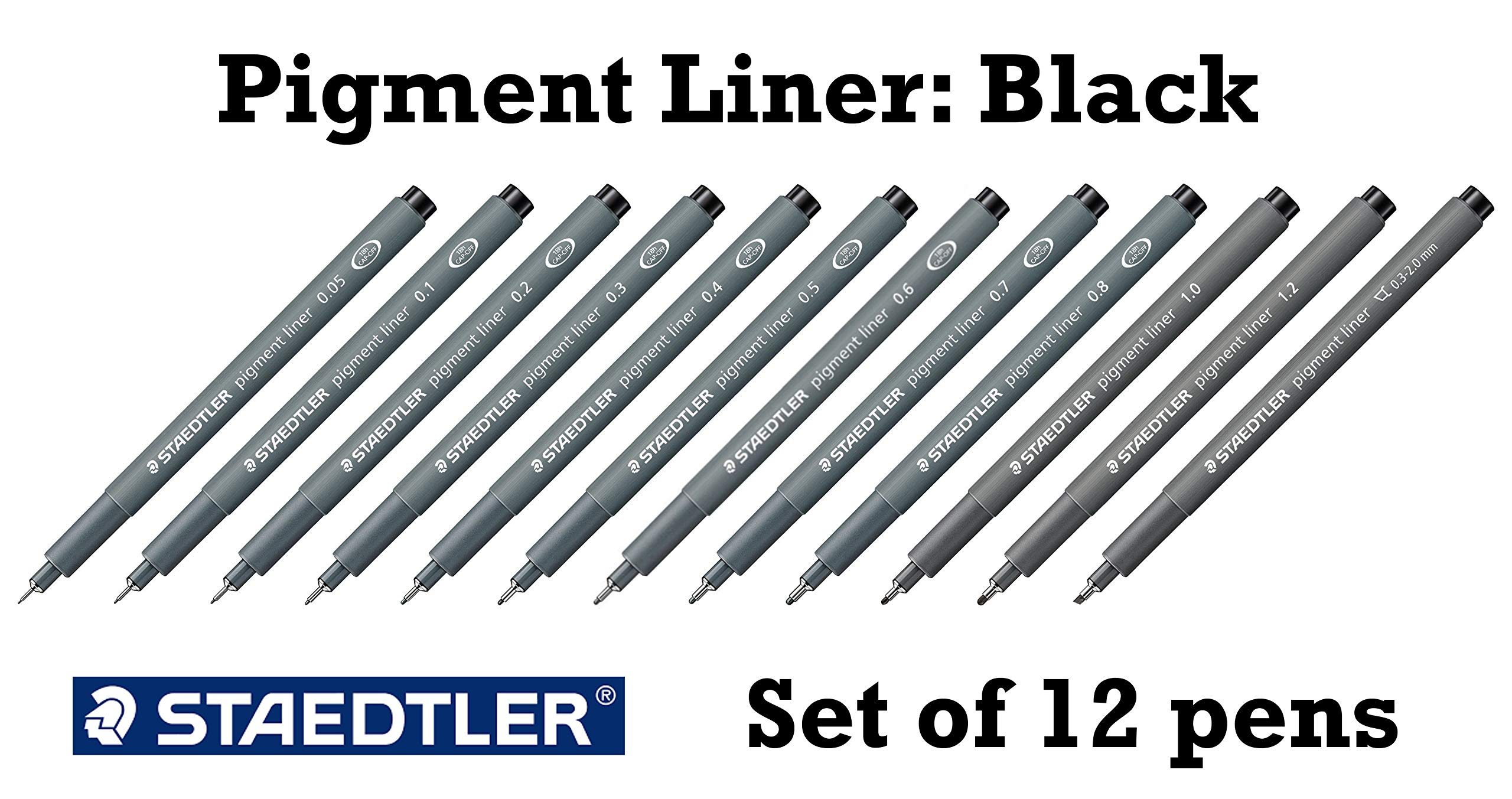 Staedtler Pigment Liner black fineliner pens, full professional 12 pieces artist drawing technical drafting sets by Staedtler (Image #4)