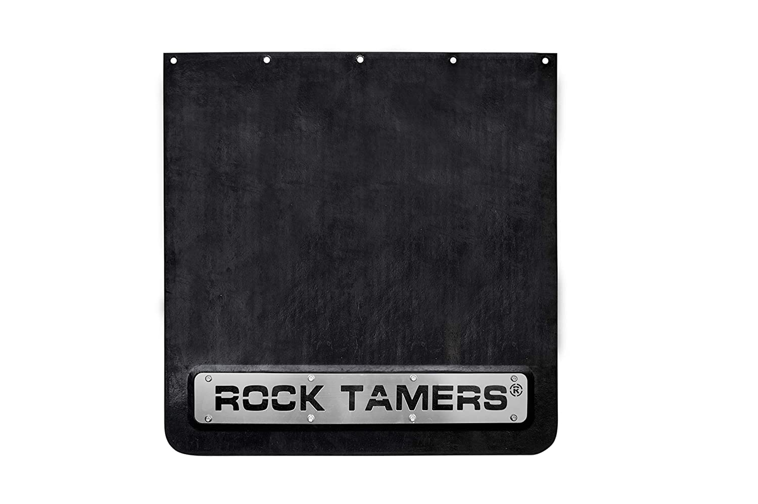 2.5 Hub Mudflap System with Matte Black Stainless Steel Trim Plates 00110 ROCK TAMERS
