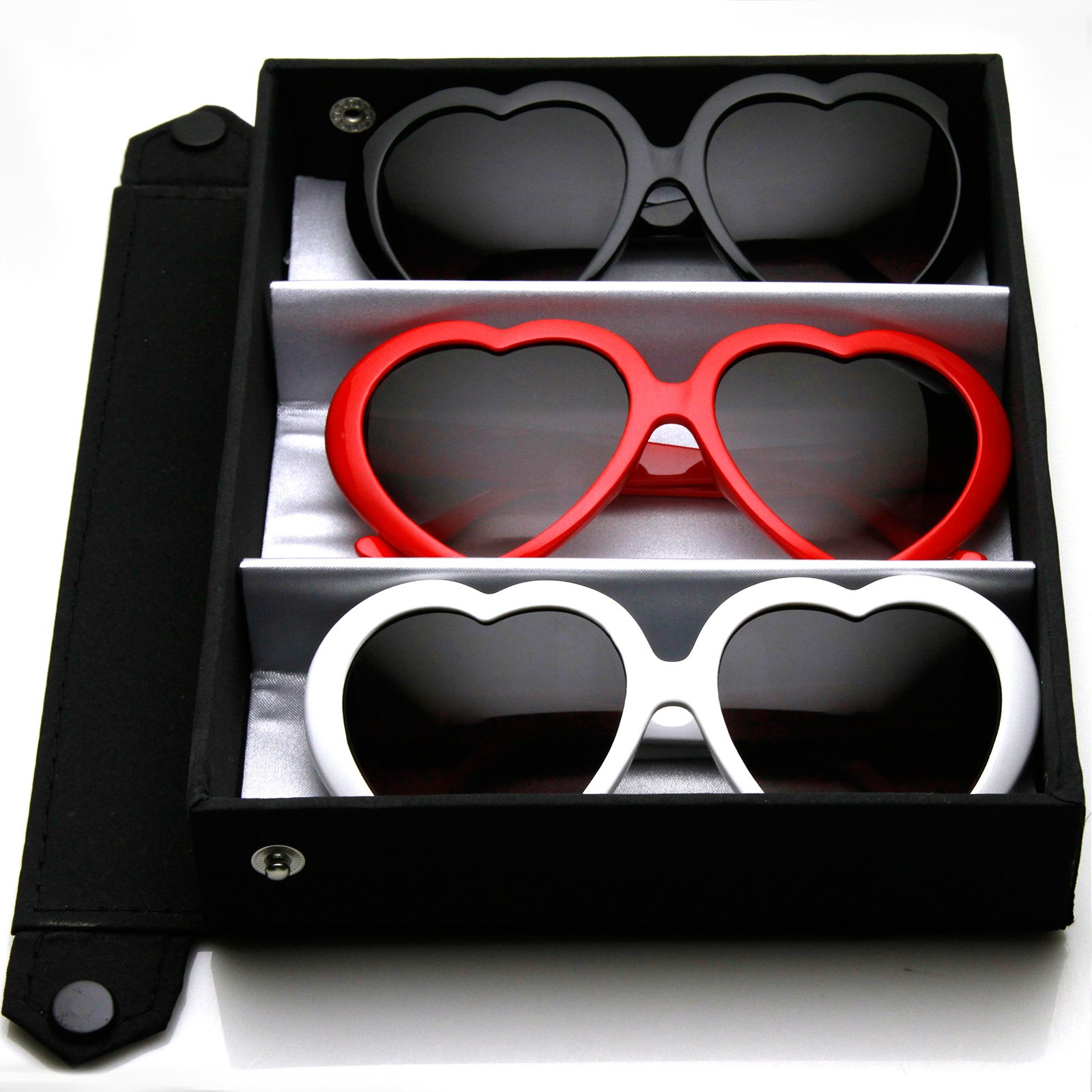 Large Oversized Womens Heart Shaped Sunglasses Cute Love Fashion Eyewear (Deluxe 3-Pack (Black/Red/White))