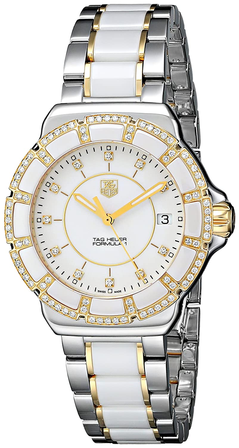 Tag Heuer Women S Wah1221 Bb0865 Formula 1 Two Tone Bracelet Watch With White Ceramic And Diamonds