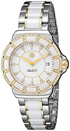 449e2232cedc TAG Heuer Women s WAH1221.BB0865 Formula 1 Two-Tone Bracelet Watch with  White Ceramic
