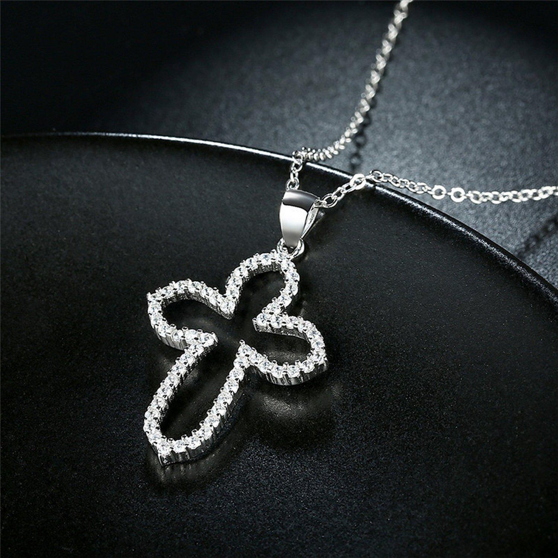 CS-DB Pendants Hollow Cross CZ Silver Necklaces