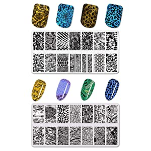 CINPIUK 2 Set Nail Stamping Plates Reptile Snake Woodgrain Print Style Nail Art Templates for DIY Nail Manicure Decals