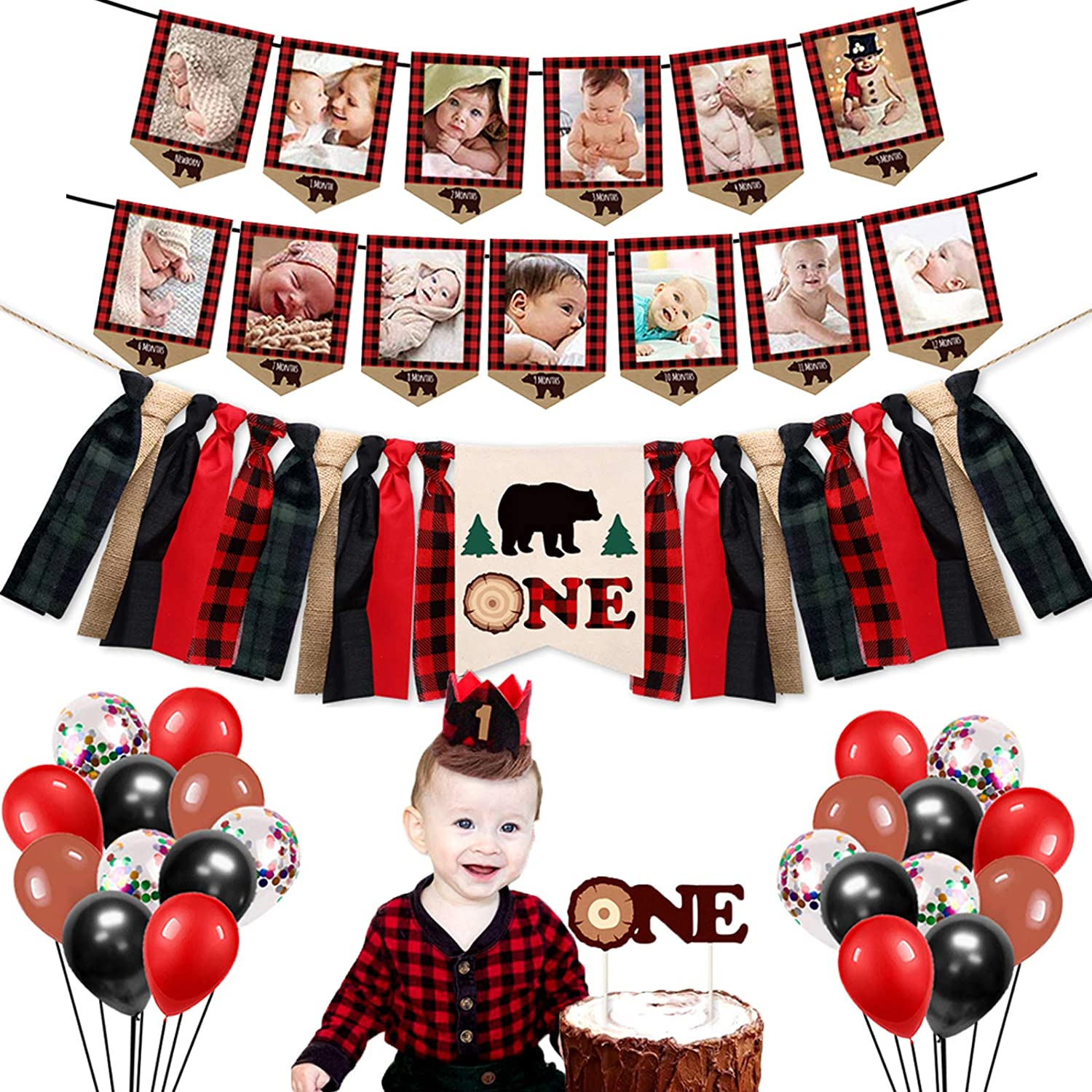 """Lumberjack First Birthday Party Supplies Decorations - Buffalo Plaid Rustic Hunter High Chair Banner, Wild Bear Monthly Photo Banners, Camping Bear Cake Topper, Woodland One Crown, 12"""" Latex Balloons"""