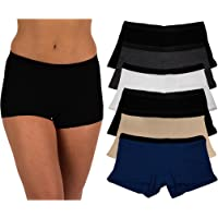 5c0f563ba22e Sexy Basics Women's 6 Pack Modern Active Buttery Soft Boy Short Boxer Brief  Panties