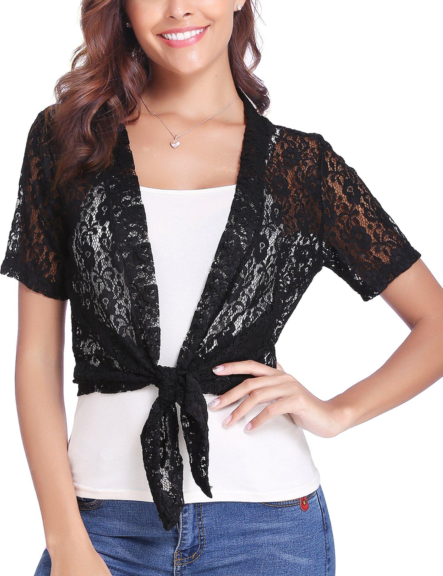 Abollria Women Tie Front Floral Lace Shrug Open Front Bolero Cardigan